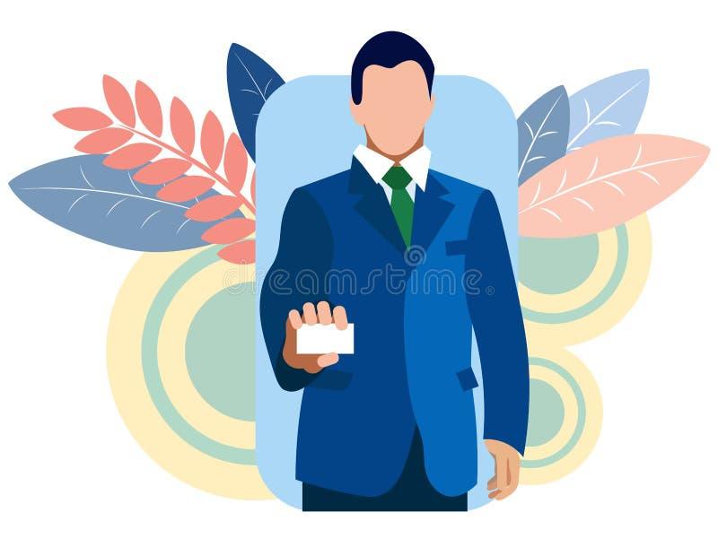 L'homme d'affaires montre une carte de visite professionnelle de visite, se tient dans sa main Dans le vecteur plat de bande dess illustration libre de droits