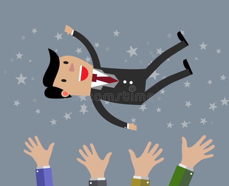 L'homme d'affaires obtiennent jeté dans l'air illustration de vecteur