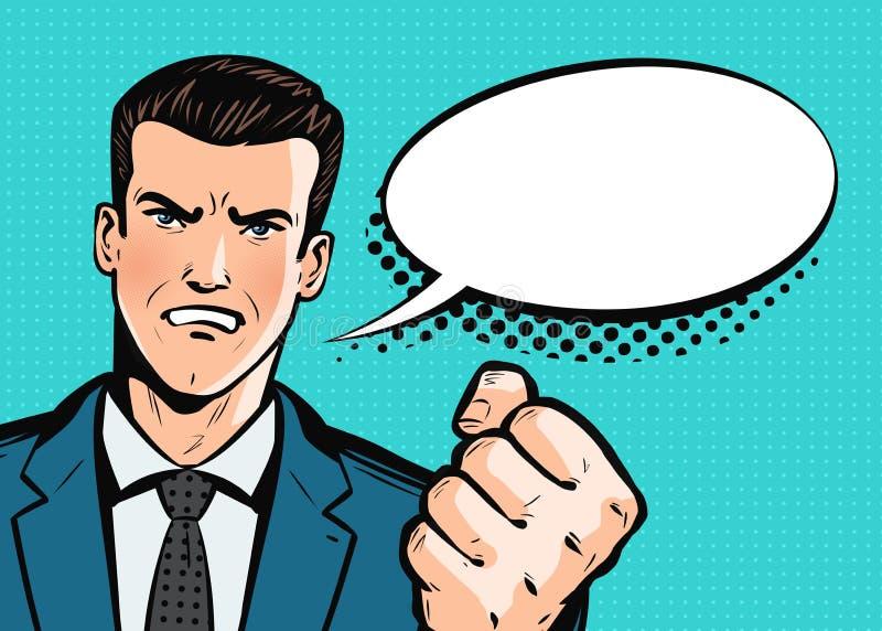 L'homme d'affaires ou l'homme agressif dans le costume menace par style comique d'art de bruit de poing le rétro Vecteur de bande illustration stock