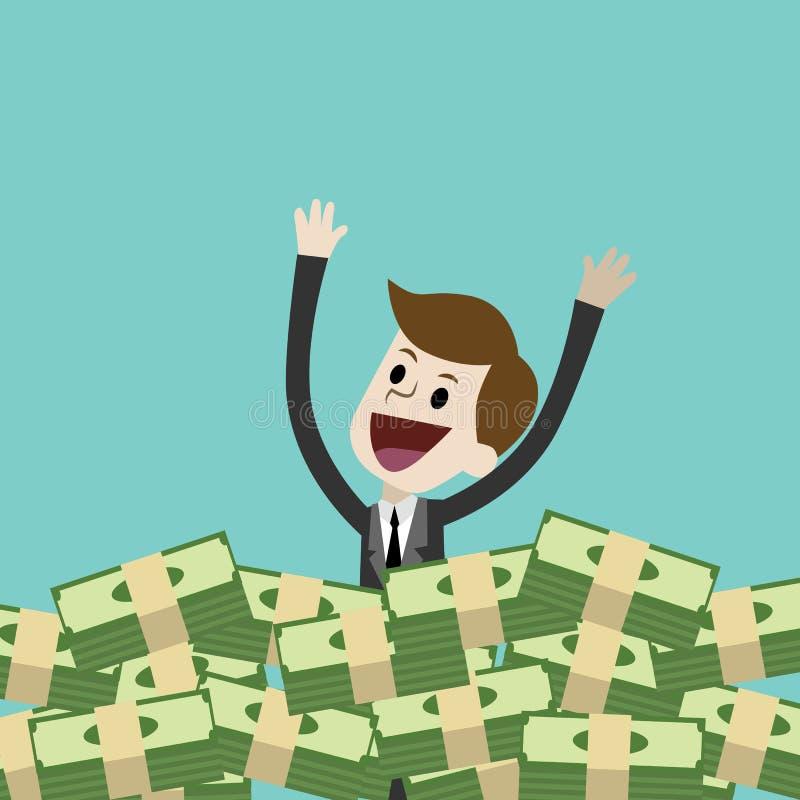L'homme d'affaires ou le directeur a beaucoup d'argent et natation en argent illustration de vecteur