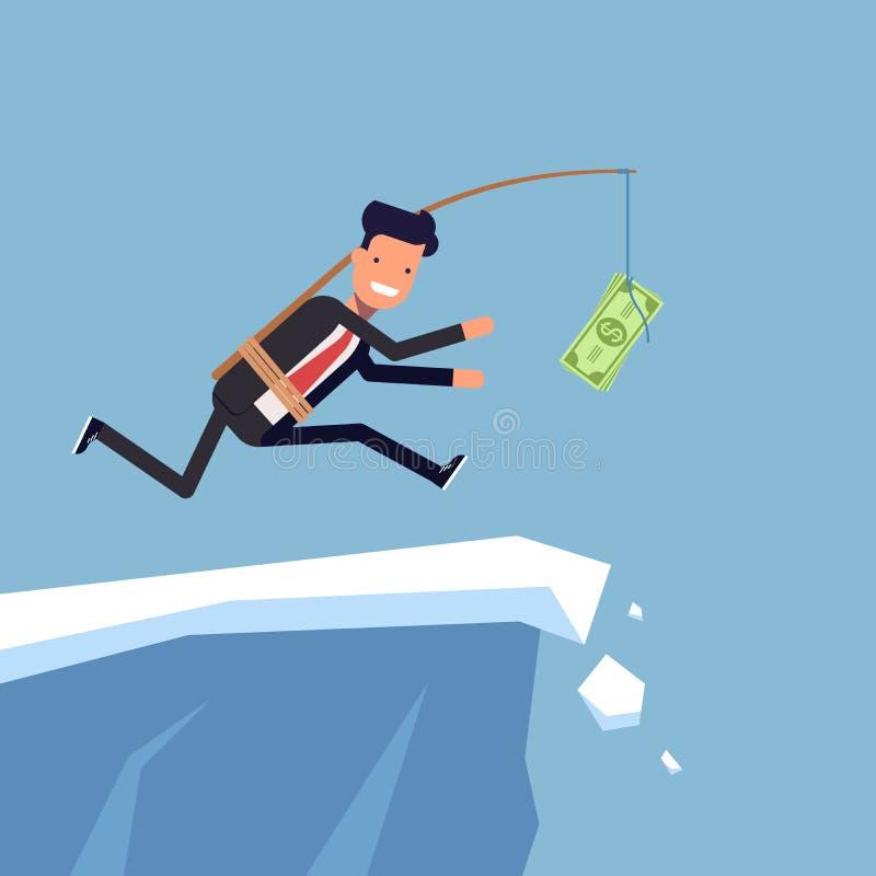 L'homme d'affaires ou le directeur court après argent à une falaise raide L'homme inattentif dans le costume va le bord du illustration libre de droits