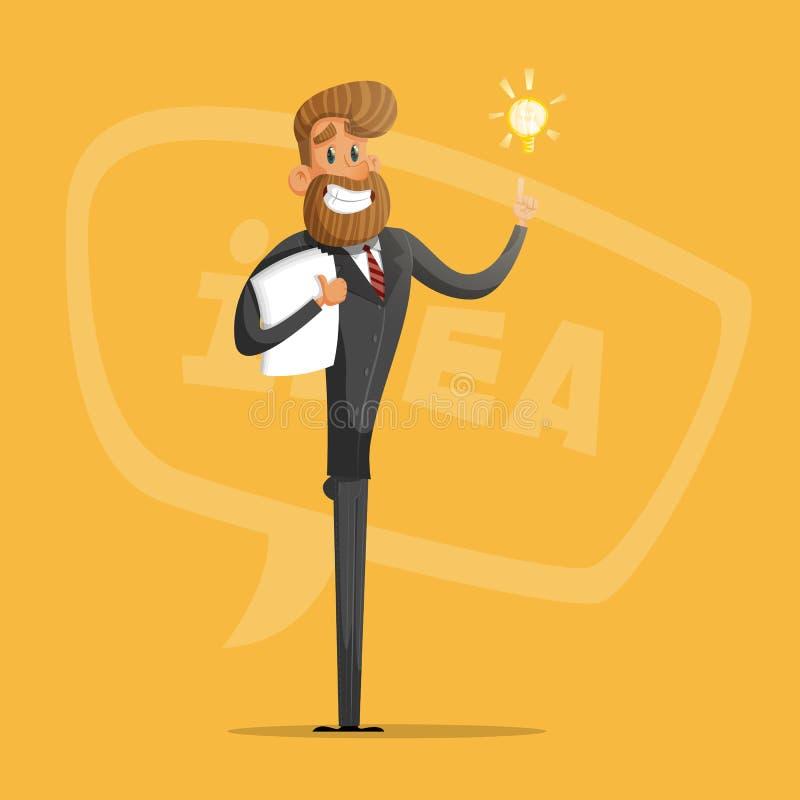 L'homme d'affaires ou le directeur heureux propose des idées vecteur prêt d'image d'illustrations de téléchargement illustration de vecteur