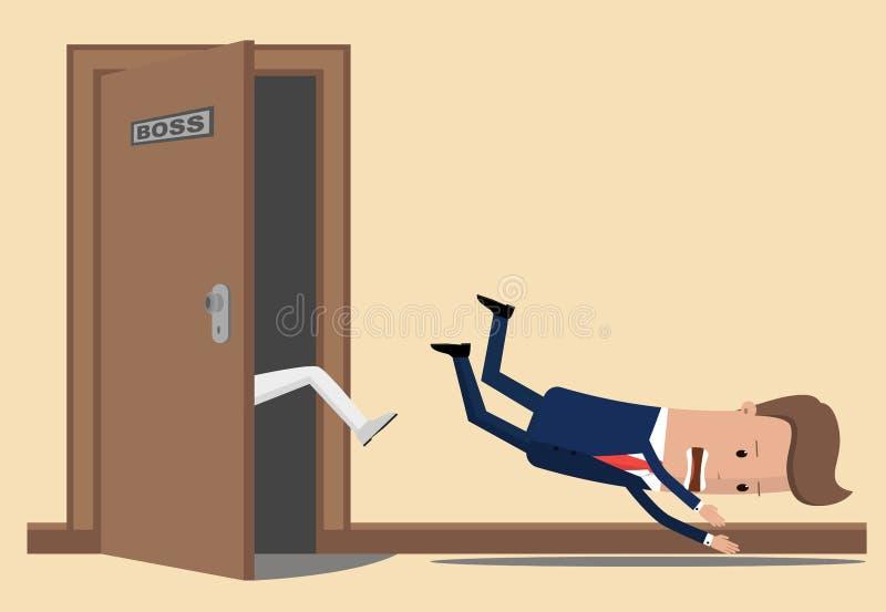 L'homme d'affaires ou le directeur jettent un coup-de-pied hors du bureau du patron Le bossage écarte l'employé Homme d'affaires  illustration libre de droits