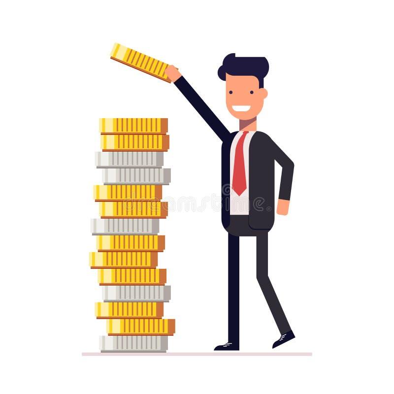 L'homme d'affaires ou le directeur met l'argent et les pièces de monnaie dans une pile Calcul de retour financier Capital gagné V illustration libre de droits