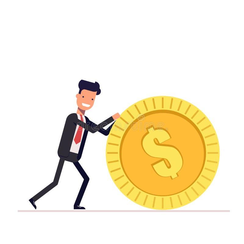 L'homme d'affaires ou le directeur pousse une pièce d'or L'homme dans le costume a obtenu la récompense Vecteur, illustration EPS illustration libre de droits