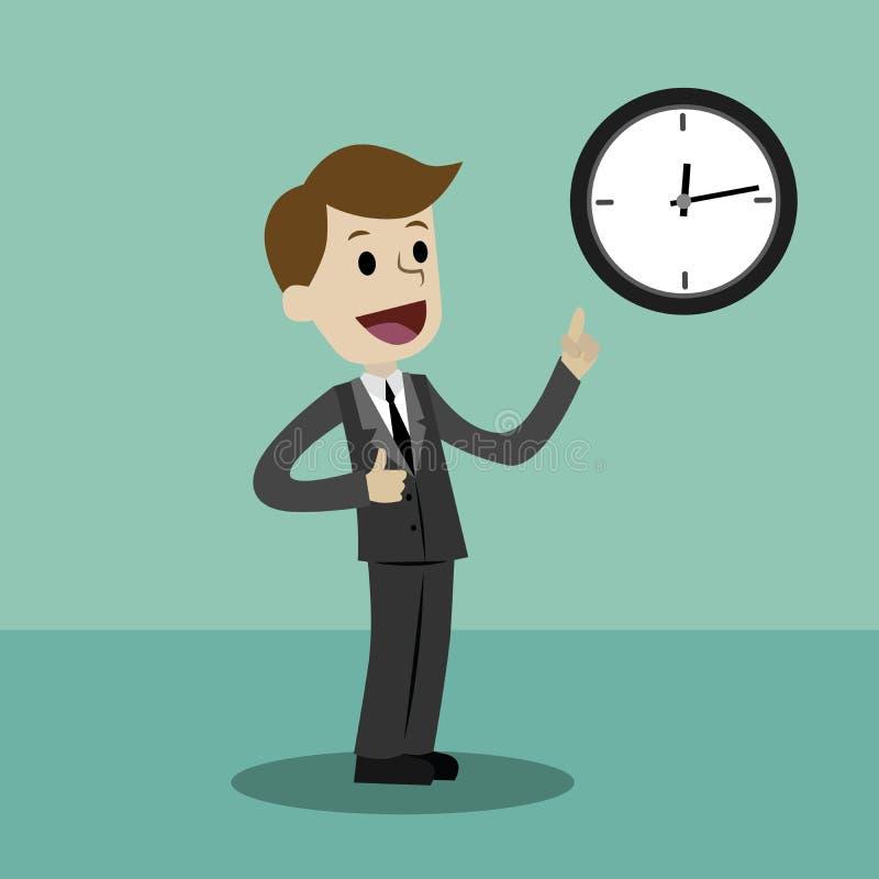 L'homme d'affaires ou le directeur prend le contrôle son temps illustration libre de droits