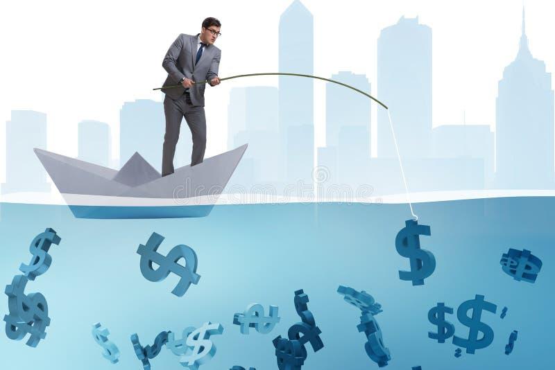 L'homme d'affaires pêchant l'argent des dollars du bateau de papier de bateau illustration libre de droits