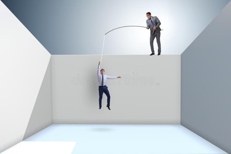 L'homme d'affaires pêchant son collègue dans le concept d'affaires illustration libre de droits