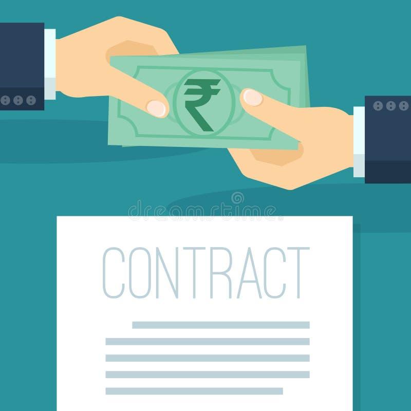 L'homme d'affaires paye les roupies indiennes illustration libre de droits