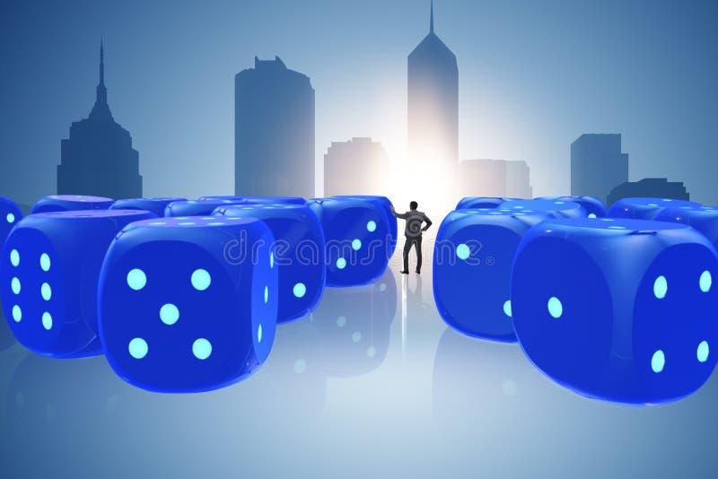 L'homme d'affaires pensant aux chances de réussite commerciale illustration de vecteur