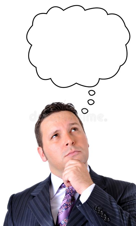 L'homme d'affaires pense avec le ballon de pensée photographie stock libre de droits