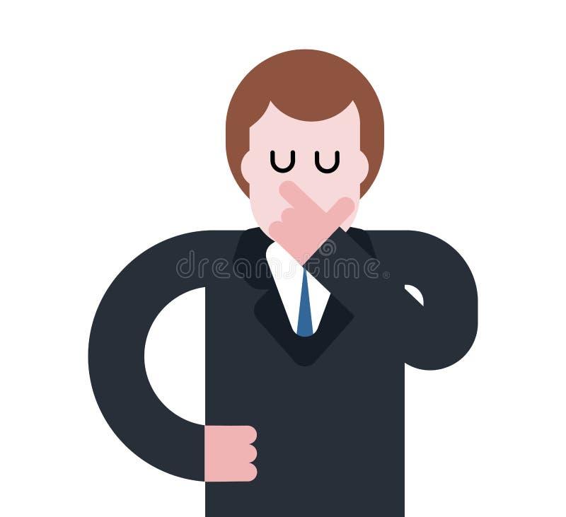 L'homme d'affaires pense d'isolement Patron songeur dans le costume Visage de main Le VE illustration stock