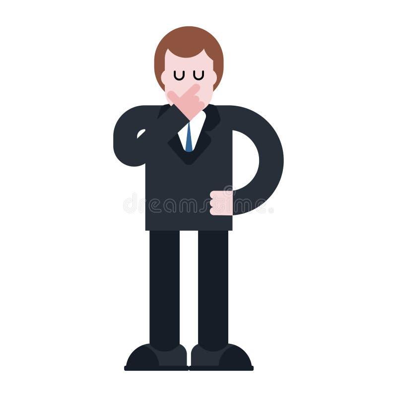 L'homme d'affaires pense Patron songeur dans le costume Visage de main Le VE illustration stock