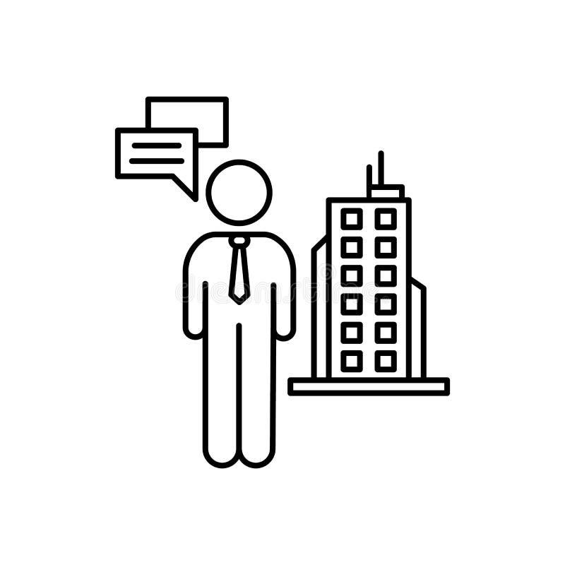 L'homme d'affaires, pensent, icône de bâtiment Élément d'icône d'affaires illustration stock