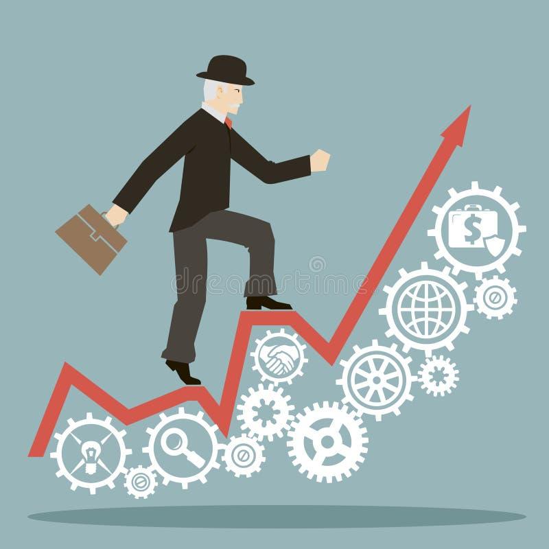 L'homme d'affaires plat de style de conception va au succès sur infographic et embraye des icônes  illustration stock