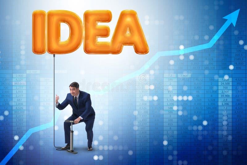 L'homme d'affaires pompant le ballon innovateur d'idée illustration de vecteur