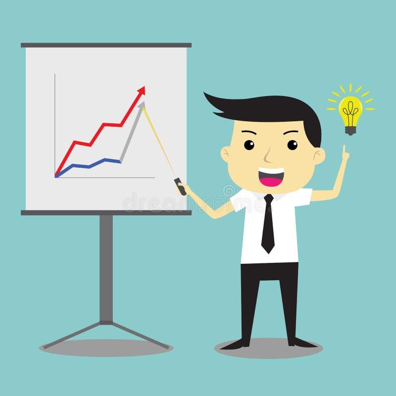 L'homme d'affaires présent la conjoncture et ont l'idée de composer la croissance d'affaires illustration libre de droits