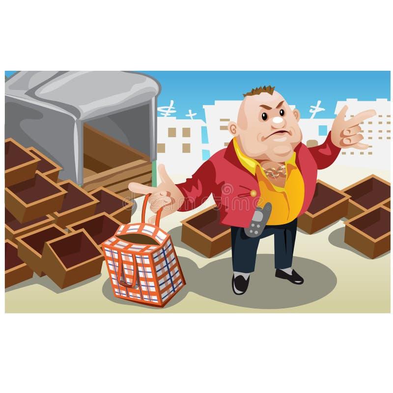 L'homme d'affaires prend le sac avec des marchandises d'entrepôt illustration de vecteur
