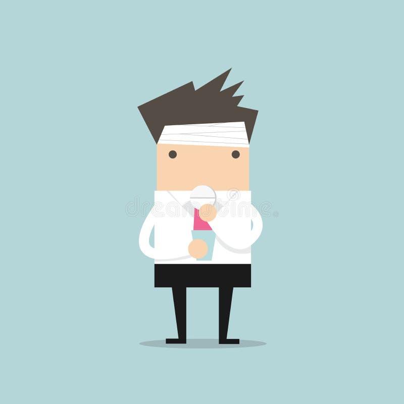 L'homme d'affaires prennent une pilule pour un mal de tête illustration libre de droits