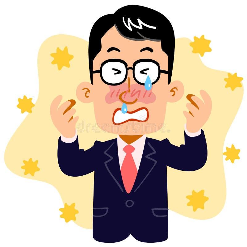 L'homme d'affaires qui souffre du rhume des foins illustration de vecteur