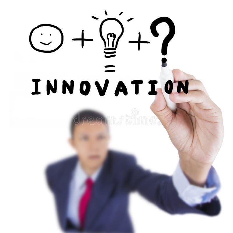 L'homme d'affaires recherchent et écrivant la chose nécessaire pour l'innovation image stock