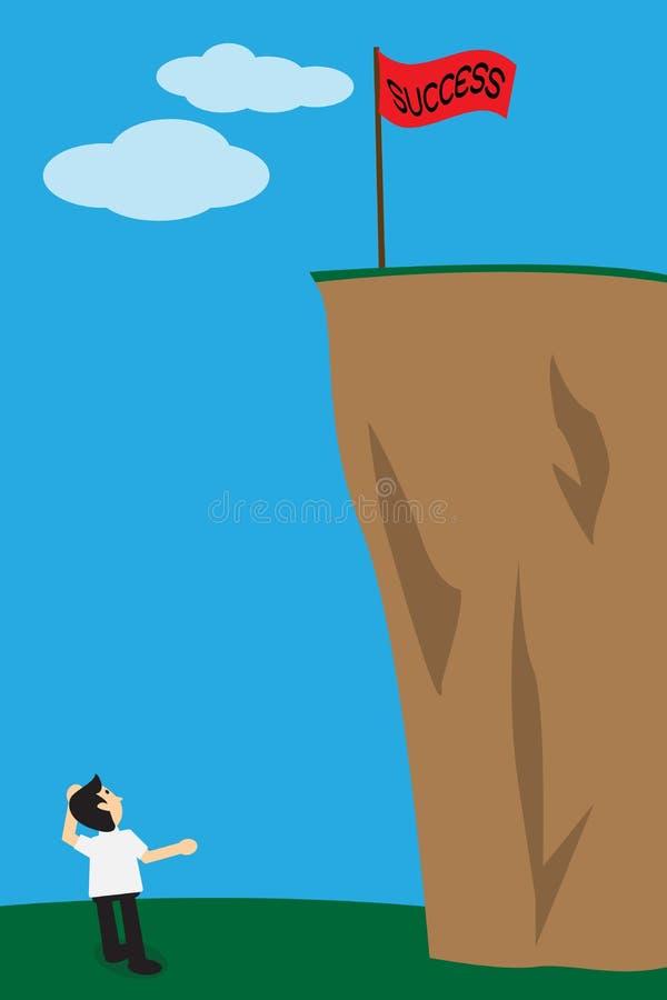 L'homme d'affaires recherchent le drapeau de succès sur la falaise, le concept f illustration stock