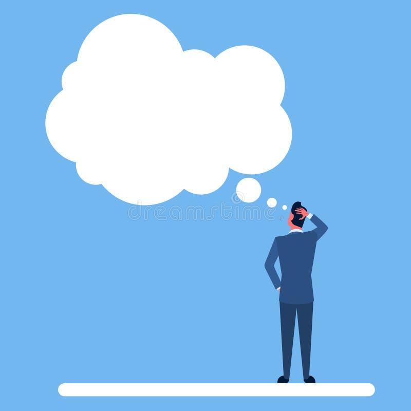 L'homme d'affaires reculant considèrent la main de pensée de prise sur la bulle principale de causerie illustration libre de droits