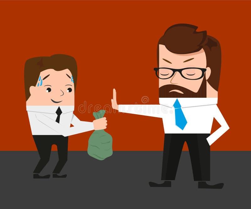 L'homme d'affaires a refusé un paiement illicite illustration stock