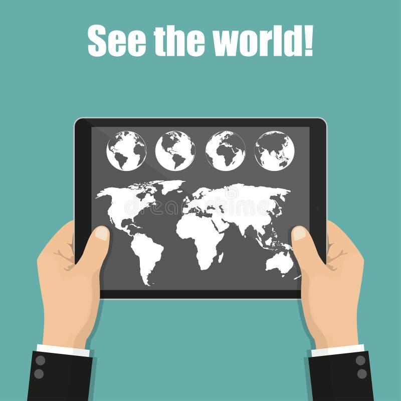 L'homme d'affaires remet tenir le comprimé avec la carte et le globe du monde illustration libre de droits