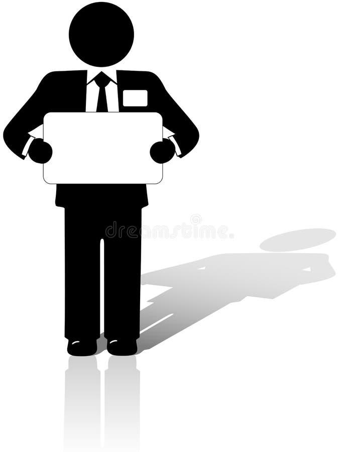 L'homme d'affaires retient le signe blanc de copyspace illustration stock