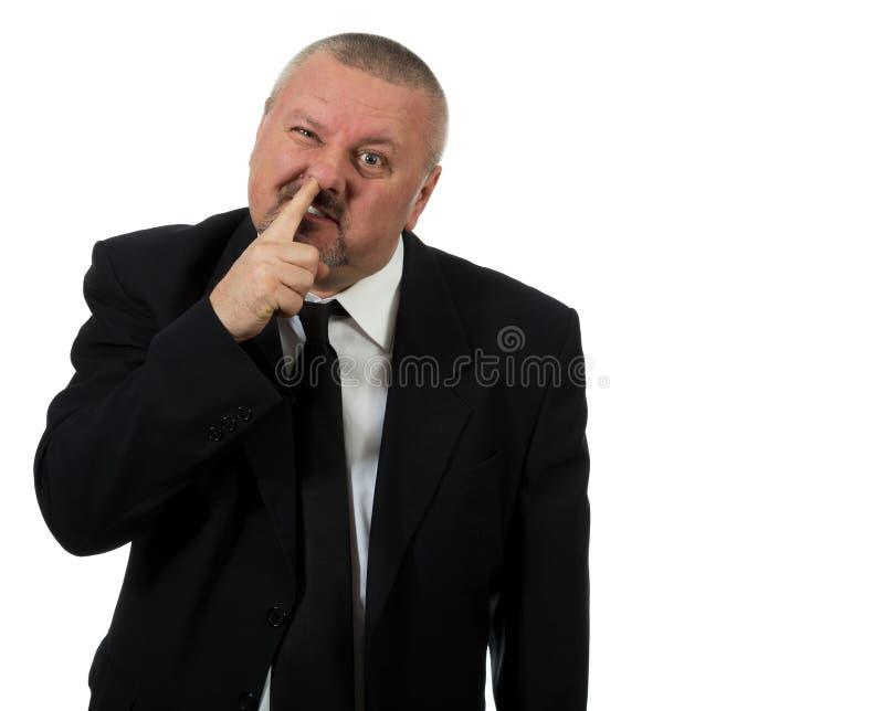 L'homme d'affaires sélectionne le nez photo libre de droits