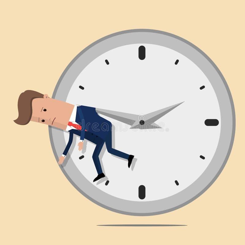L'homme d'affaires s'arrête sur une flèche d'horloge Illustration de vecteur illustration de vecteur