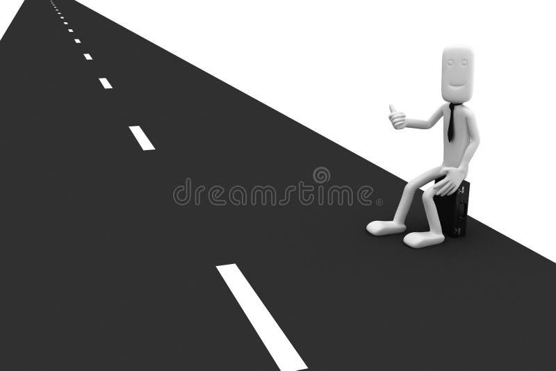 L'homme d'affaires s'assied sur le bord de la route illustration libre de droits