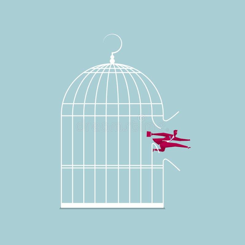 L'homme d'affaires s'est échappé de la cage illustration de vecteur