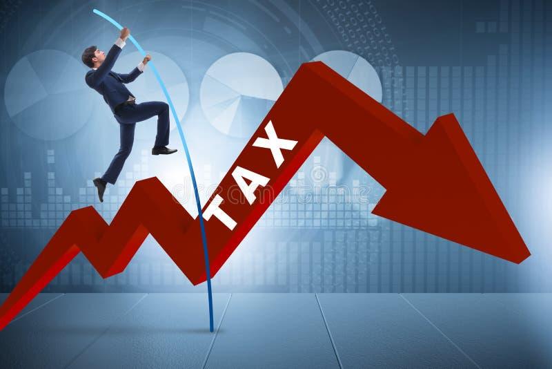 L'homme d'affaires sautant par-dessus l'impôt dans le concept de manière d'éviter de fraude fiscale illustration stock