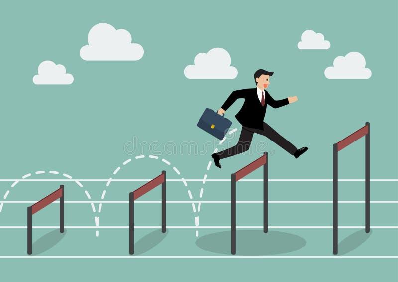 L'homme d'affaires sautant plus haut par-dessus l'obstacle illustration de vecteur