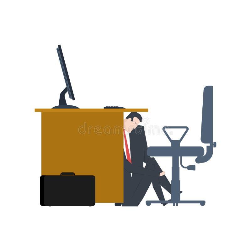 L'homme d'affaires se cache sous la table le directeur est menacent du patron Le VE illustration libre de droits