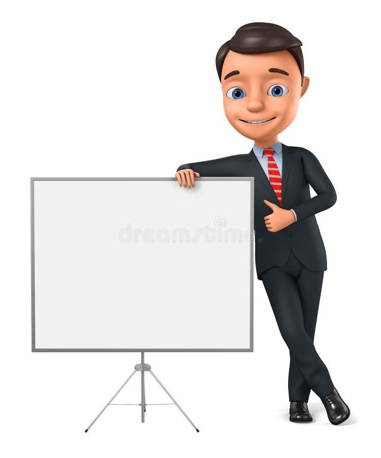 L'homme d'affaires se penche en avant et montre des pouces  l'illustration 3d rendent illustration stock