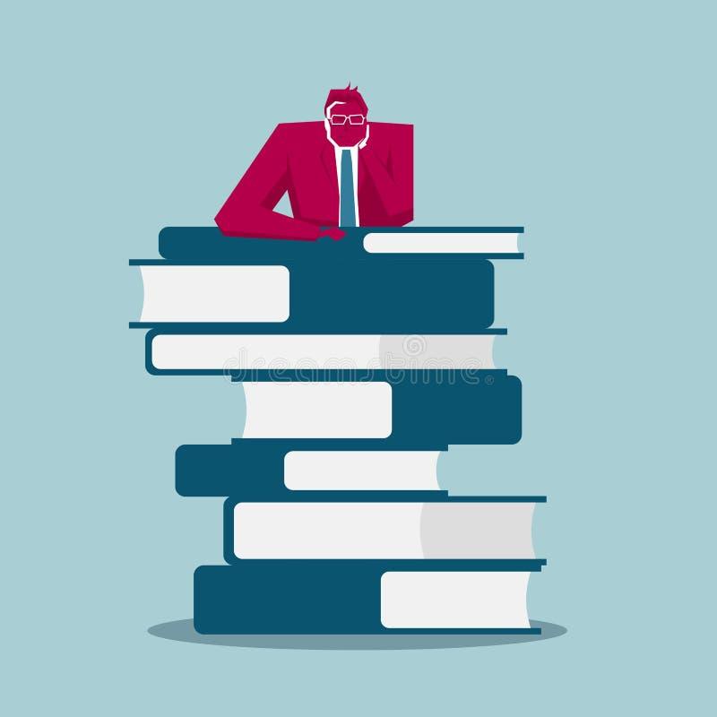 L'homme d'affaires se penche sur les livres illustration libre de droits