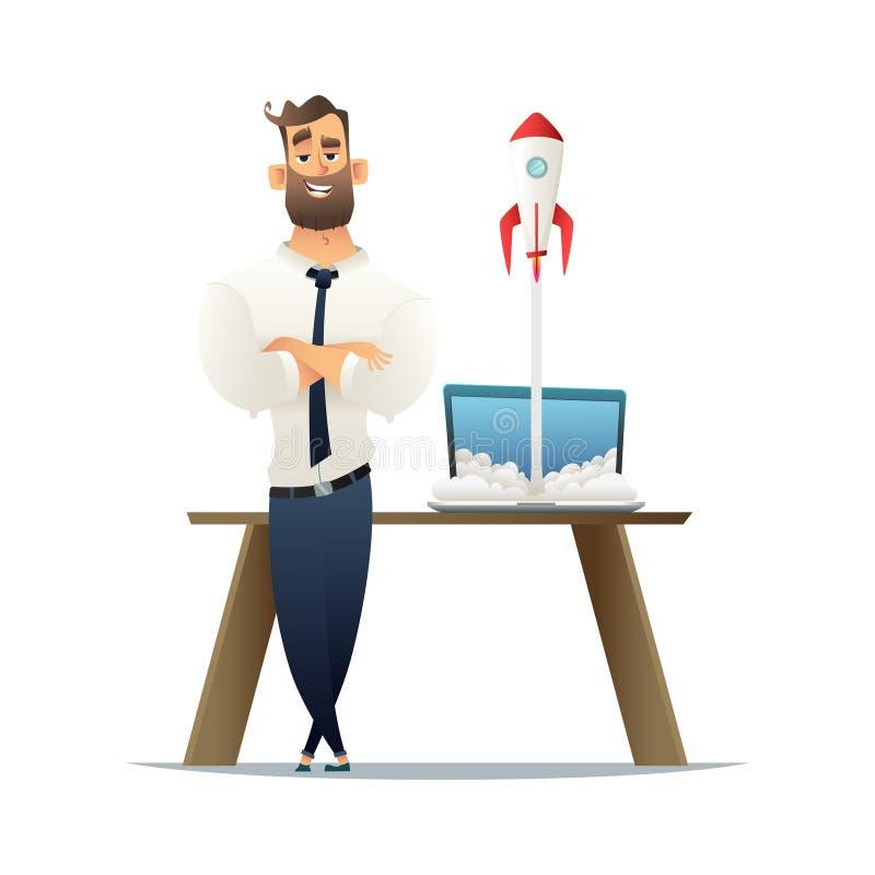 L'homme d'affaires se tenant prêt le bureau avec un ordinateur portable, une fusée est à partir de l'ordinateur portable Concept  illustration stock
