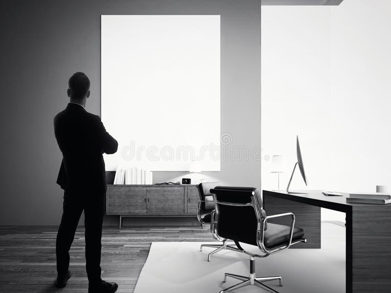 L'homme d'affaires se tient dans le bureau moderne avec la toile blanche vide Guerre biologique images stock