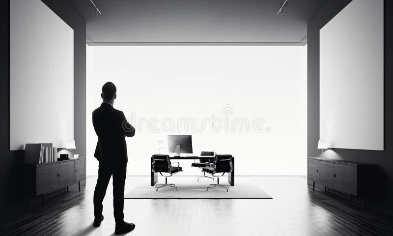 L'homme d'affaires se tient dans le bureau moderne avec la toile deux vide Rebecca 36 photos libres de droits