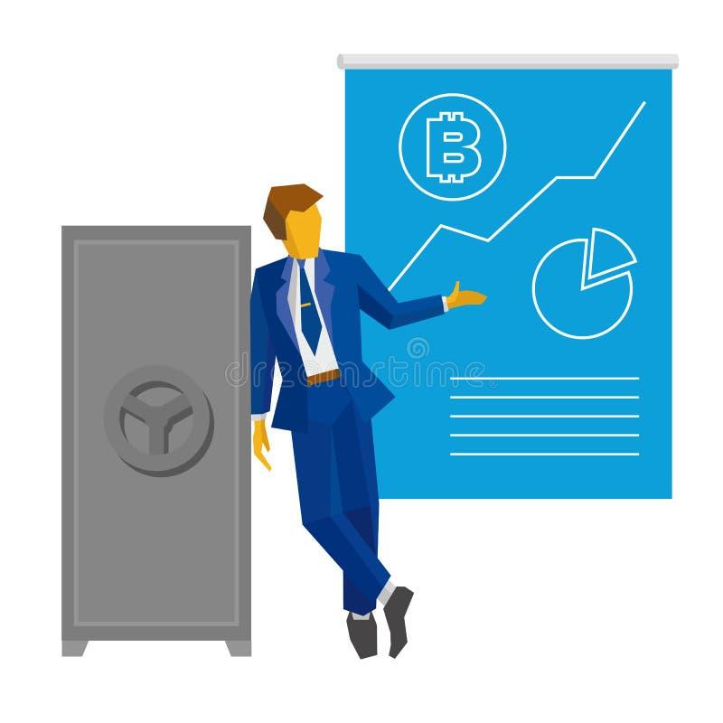 L'homme d'affaires se tient près de l'affiche fermée sûre et d'exposition avec le bitcoin illustration libre de droits