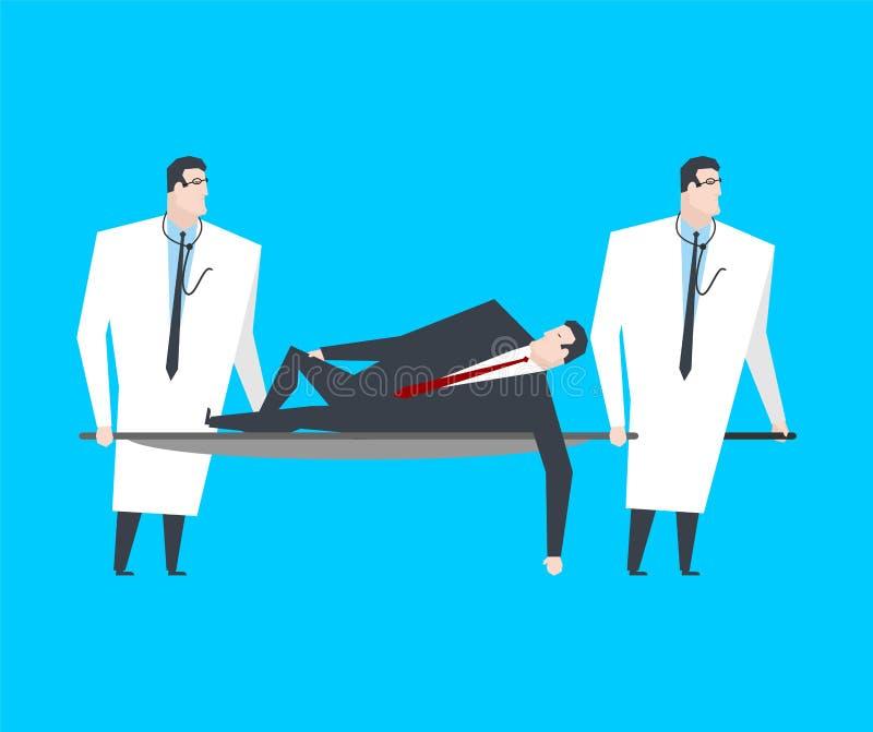 L'homme d'affaires se trouve sur la civière Les médecins portent le patron au hospita illustration de vecteur