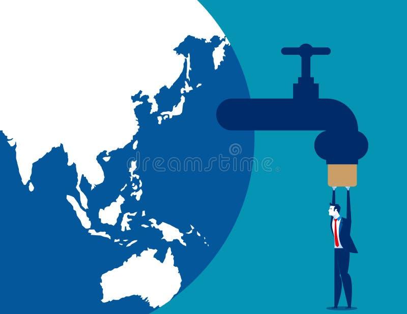 L'homme d'affaires serrer emp?chent la fuite des ressources Illustration de vecteur d'affaires de concept illustration libre de droits