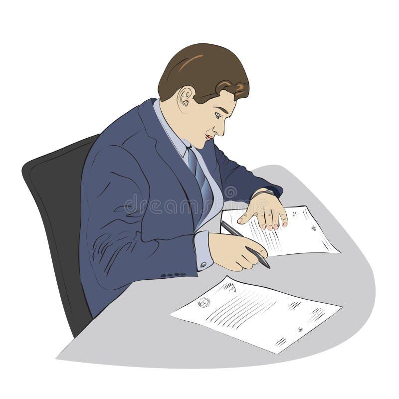 L'homme d'affaires signe des documents d'isolement sur le fond blanc illustration libre de droits