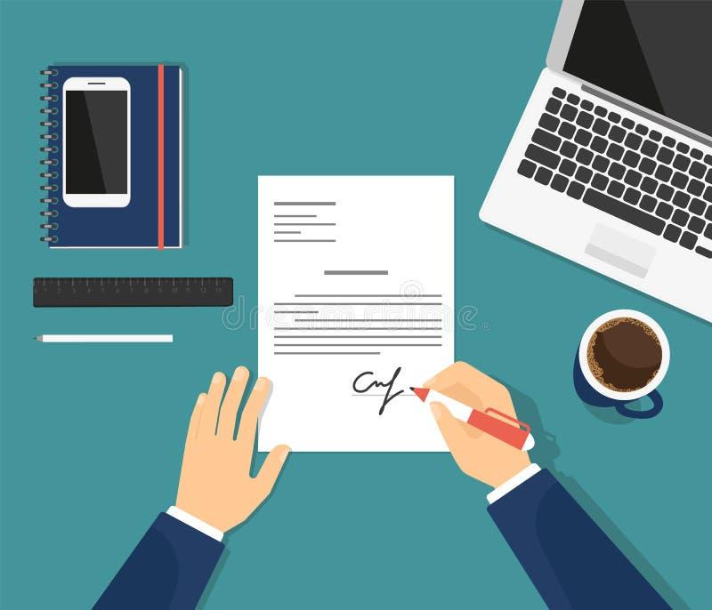 L'homme d'affaires signe un contrat illustration de vecteur