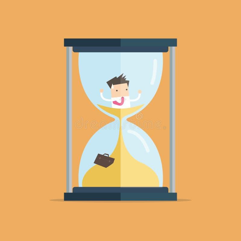 L'homme d'affaires soit emprisonné dans le sablier et la descente en sable illustration de vecteur