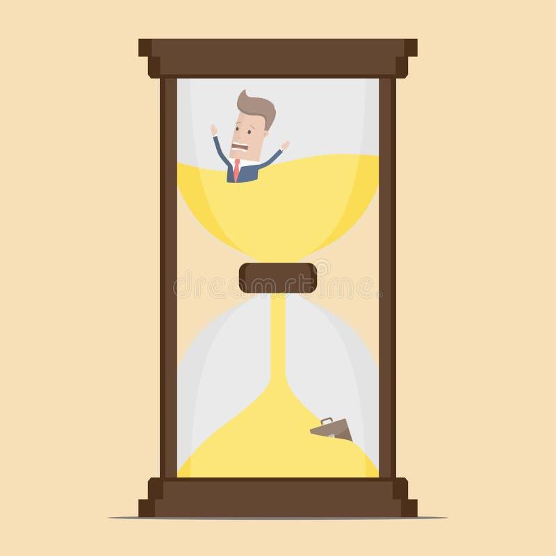 L'homme d'affaires soit emprisonné dans le sablier et la descente en sable La date-butoir expirée, gestion du temps d'affaires, t illustration stock