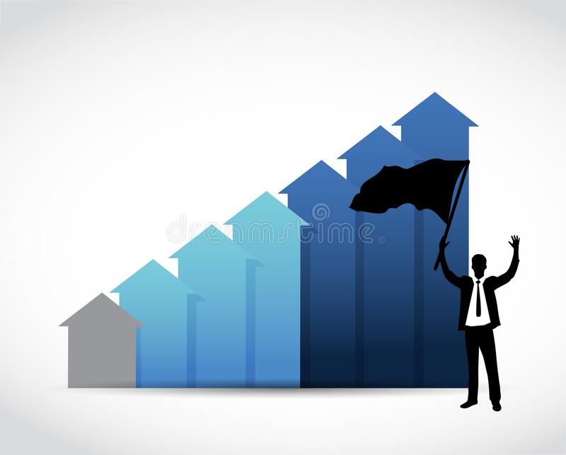 L'homme d'affaires soulève le drapeau au-dessus d'un graphique de gestion bleu illustration de vecteur